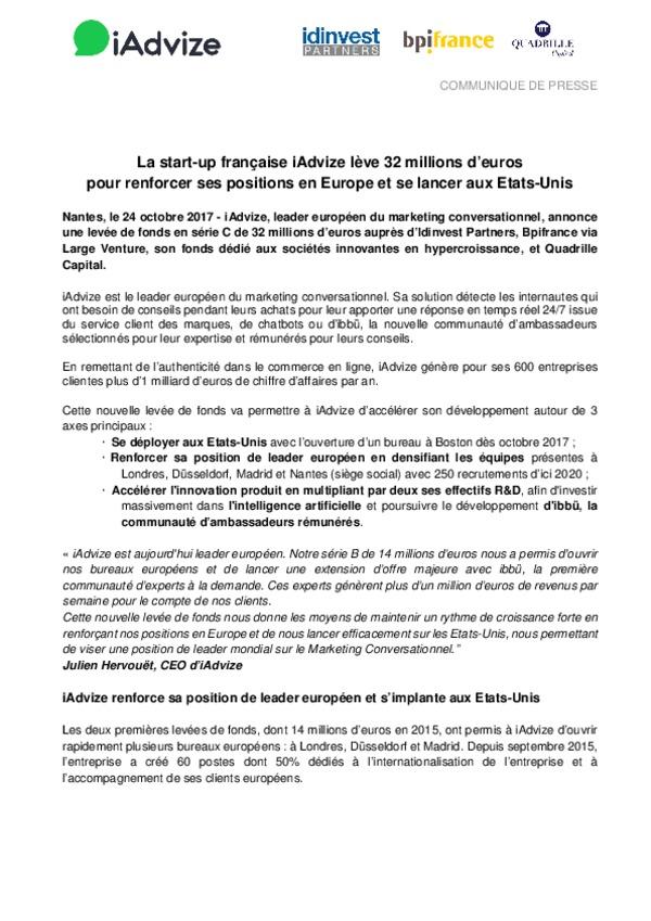 La Start Up Francaise Iadvize Leve 32 Millions D Euros Pour